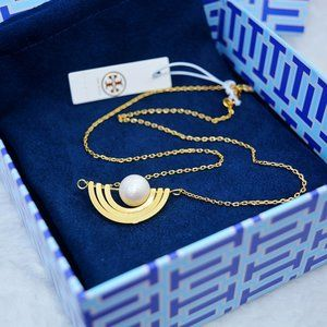 Tory Burch Pearl Inlay Rotatable Fashion Necklace